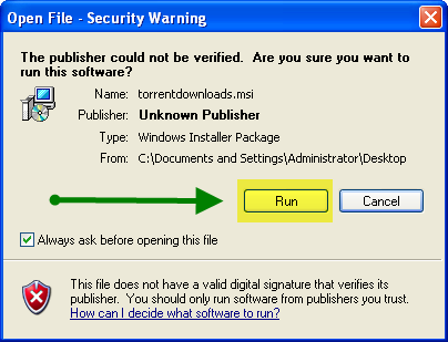 "A Security Warning window will open. Click on ""Run"" in order to continue"